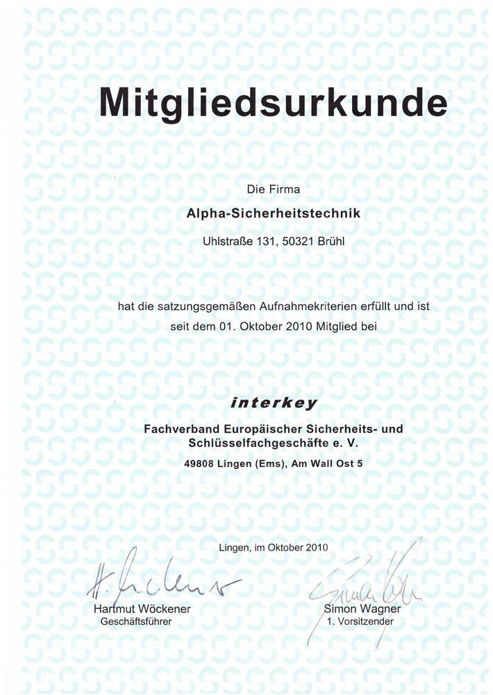 Mitgliedsurkunde Interkey Fachverband für Alpha Sicherheitstechnik in Brühl