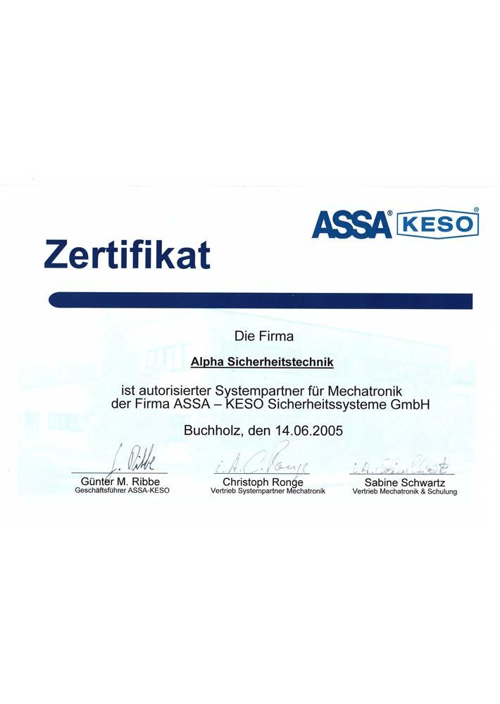 Zertifikat Assa KESO Mechatronic 2005 für Alpha Sicherheitstechnik in Brühl