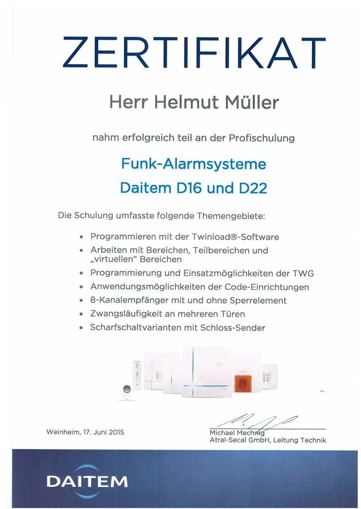 Zertifikat Daitem Funkalarmsysteme 2015 für Alpha Sicherheitstechnik in Brühl