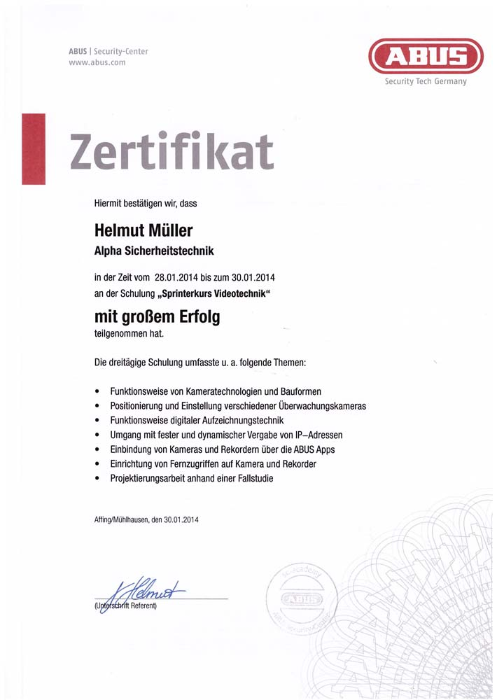 Zertifikat Videoschulung Abus 2014 für Alpha Sicherheitstechnik in Brühl
